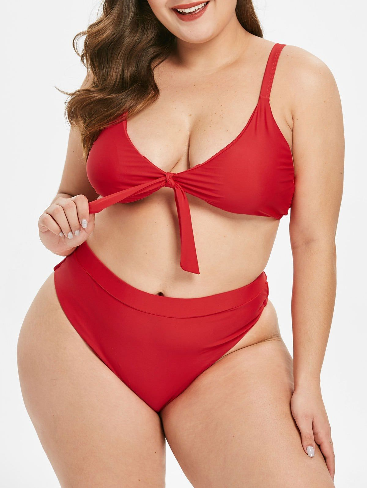 33227ce2b0f29 Plus Size Knot Padded High Leg Bikini Set Use Code: RGBF1 Get 25% OFF  Discount! #rosegal #swimwear #plussize