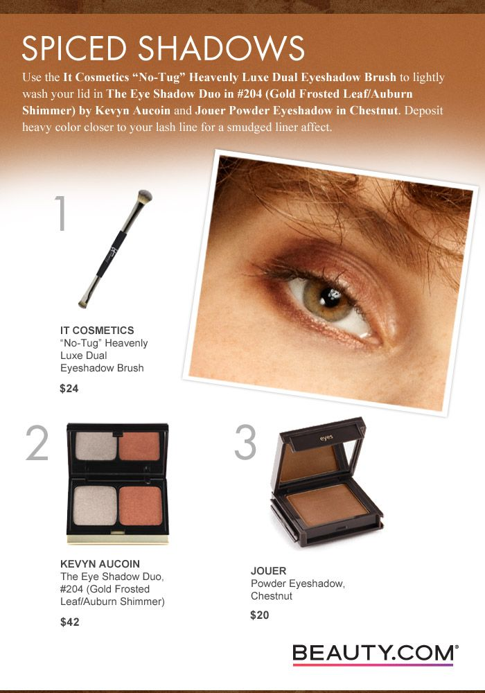"""Use the It Cosmetics """"No-Tug"""" Heavenly Luxe Dual Eyeshadow Brush to lightly wash your lid in The Eye Shadow Duo in #204 (Gold Frosted Leaf/Auburn Shimmer) by Kevyn Aucoin & Jouer Powder Eyeshadow in Chestnut. Deposit heavy color closer to your lash line for a smudged liner effect. #Beauty #MakeupTutorial #Eyes #Makeup Visit Beauty.com for more.."""
