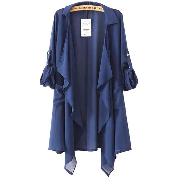 Chicnova Fashion Solid Color Irregular Coat ($18) ❤ liked on Polyvore