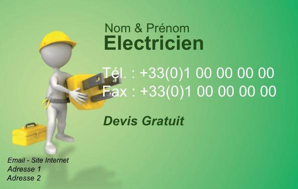 Carte De Visite Electricien A Personnaliser Modele Gratuit Avec Fond Vert Parfait Pour