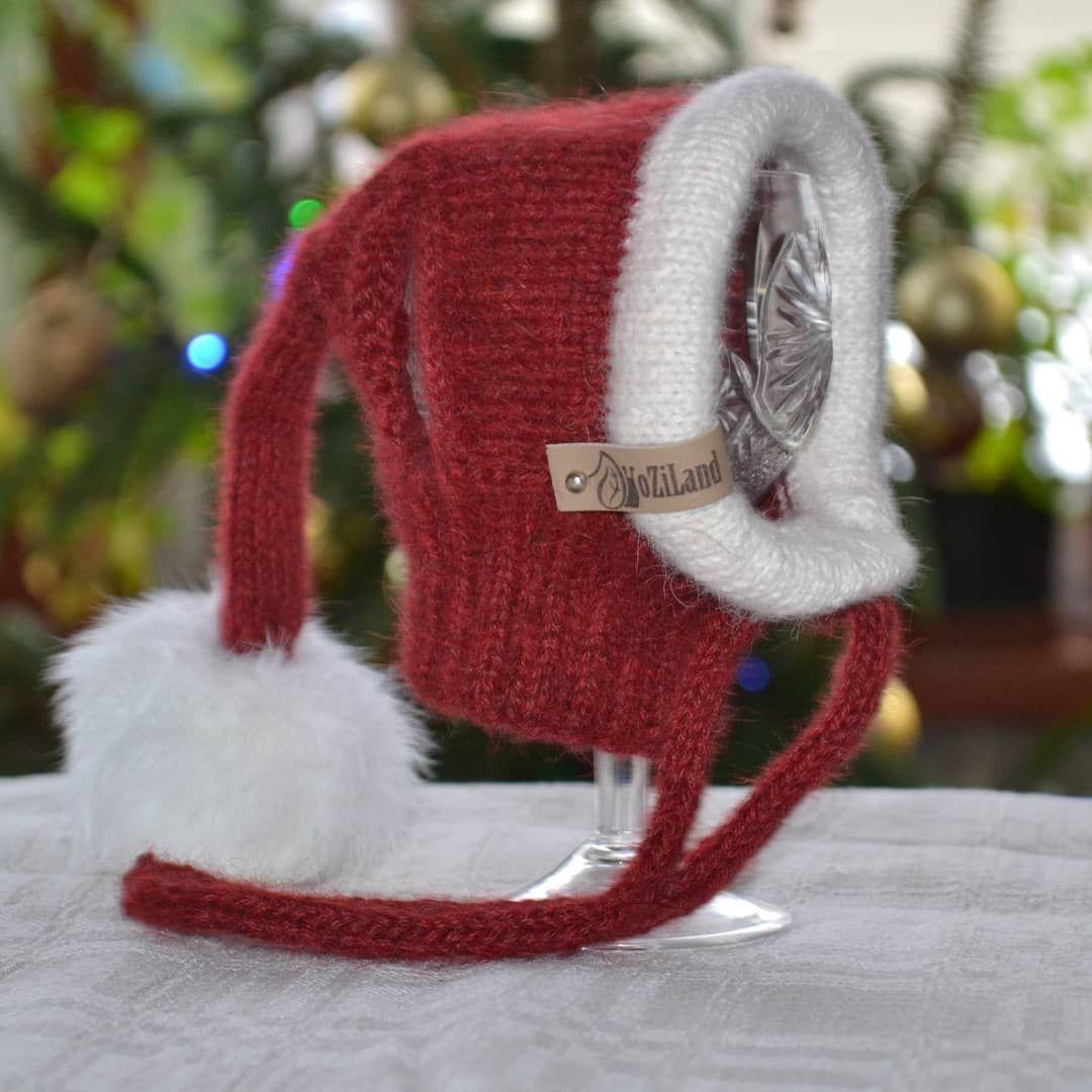 Santa Hat For Small Dog Hatforpet Petclothes Hatfordog Hoodfordog Snoodfordog Knitfordog