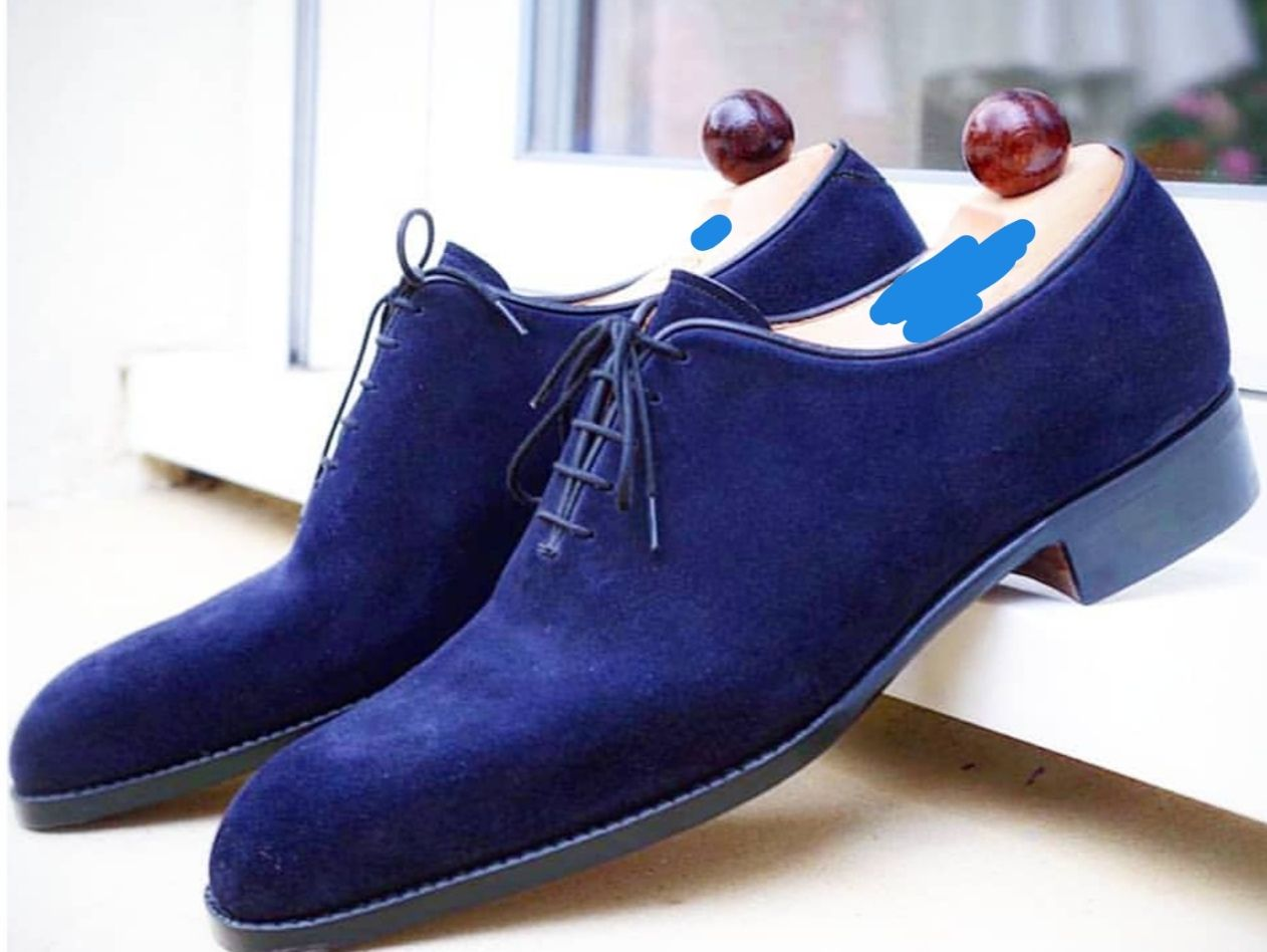 New Handmade Blue Suede Shoes Men Formal Cap Toe Dress Suede Shoes Dress Shoes Men Blue Suede Shoes Suede Oxford Shoes