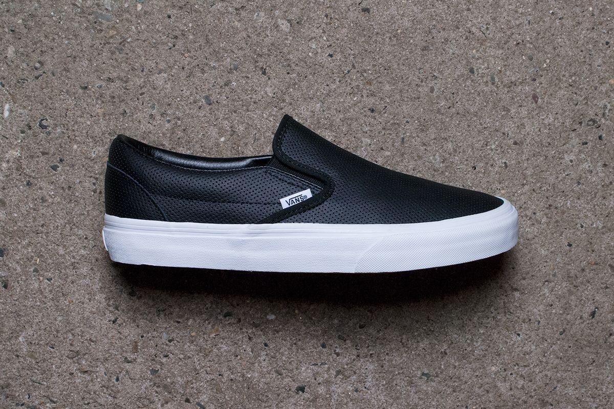 vans black slip ons leather