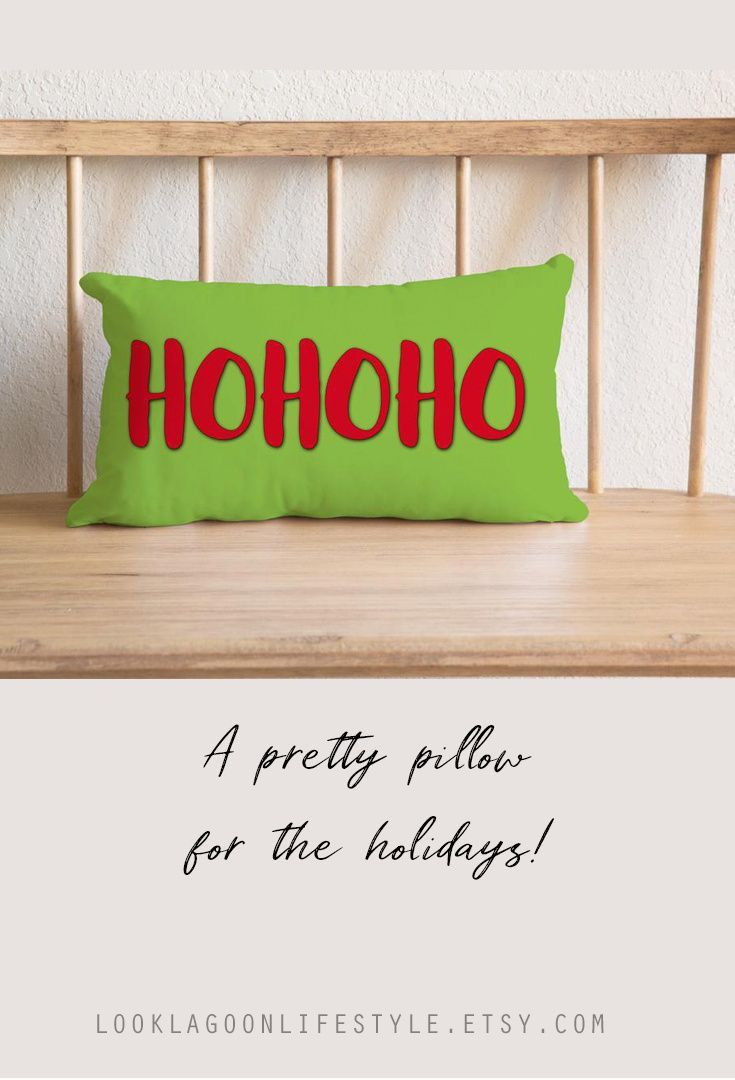 Colorful Christmas Throw Pillow Ho Ho Ho Santa