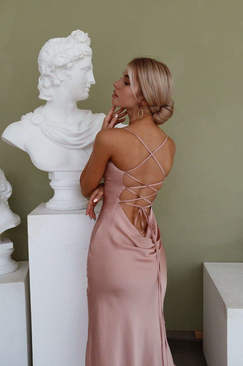 Dusty Pink Silk Slip Dress with Cowl Neck for Spec