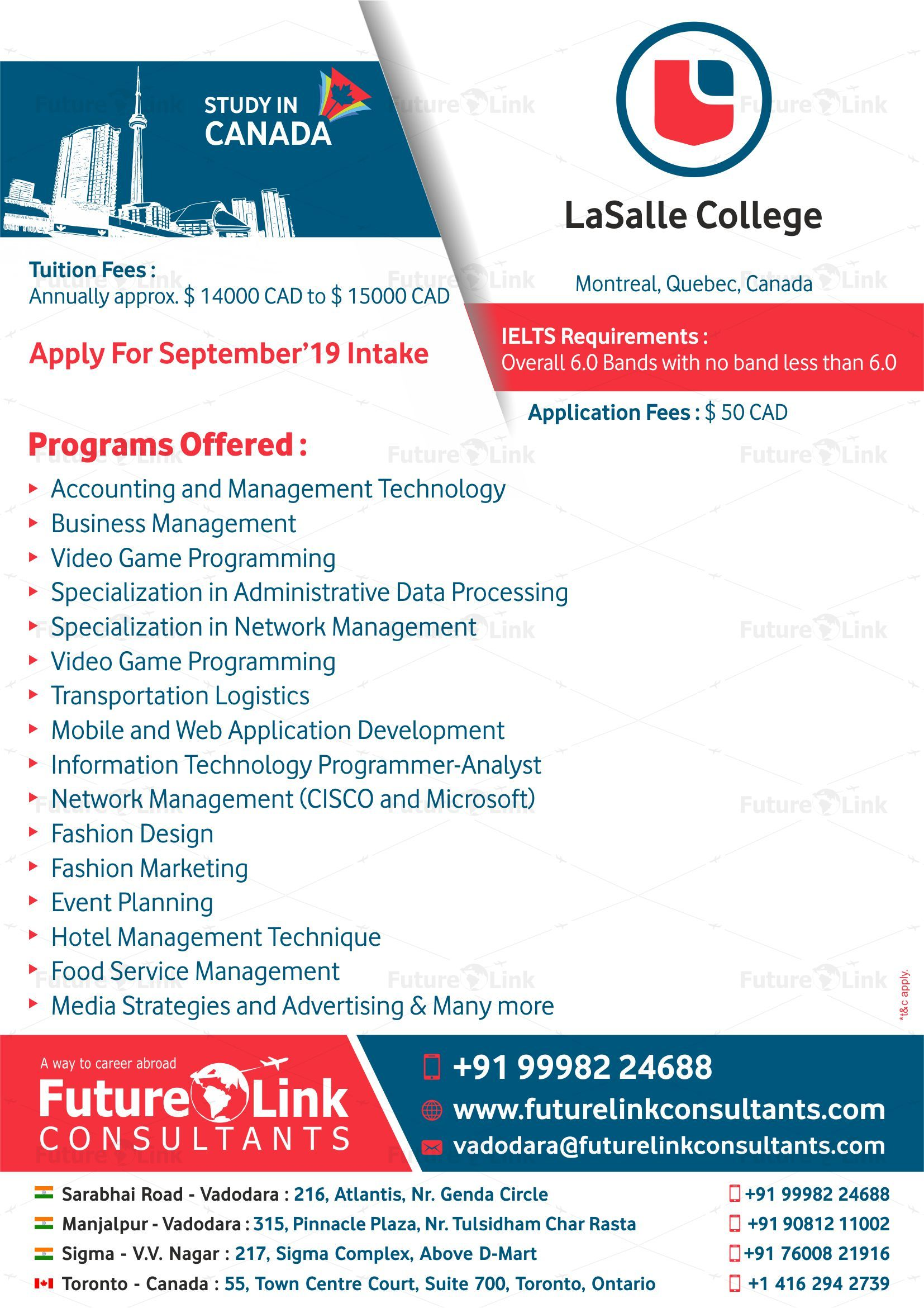 Lasalle College Montreal Canada Has Opened Up Some Of Its Best Programs For September 19 Intake So Don T Wait An Lasalle College Tuition Business Management
