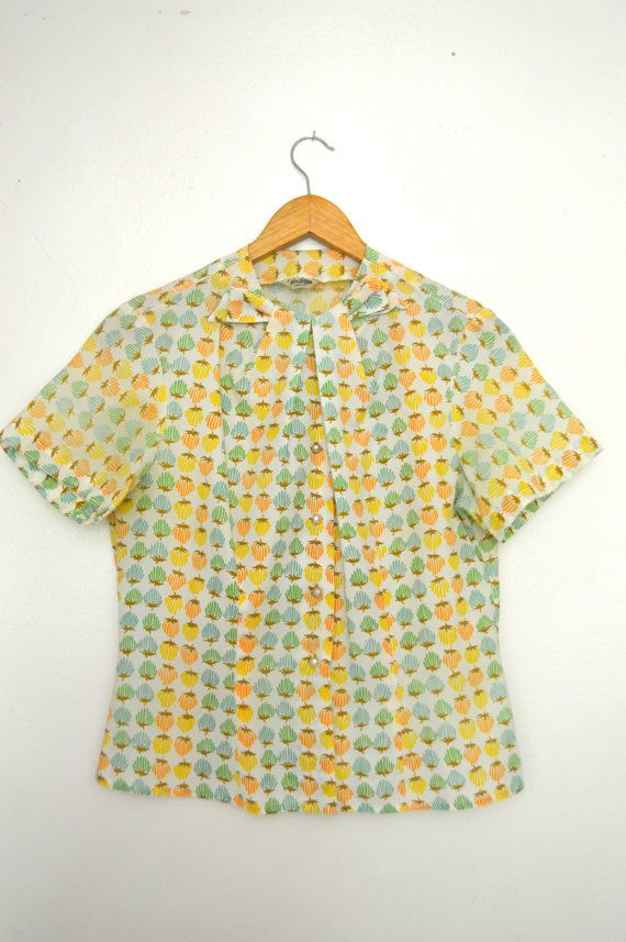 Vintage 1960's  Colourful Strawberry Novelty Print Button Up Blouse with Bow (M)