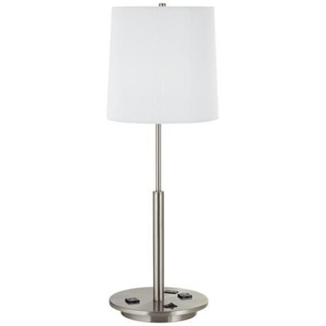 Tari Brushed Steel Usb Port Table Lamp With Power Outlet 6f652 Lamps Plus Modern Lamp Design Table Lamp Contemporary Table Lamps