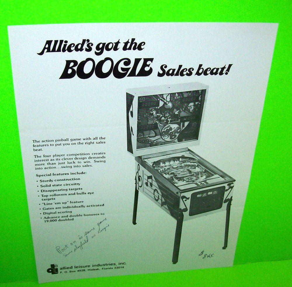 Allied BOOGIE Original 1976 Flipper Game Pinball Machine