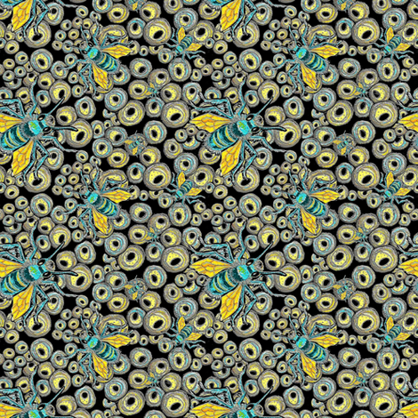 Mason Bees Turquoise/Yellow fabric by greenedevine on Spoonflower - custom fabric