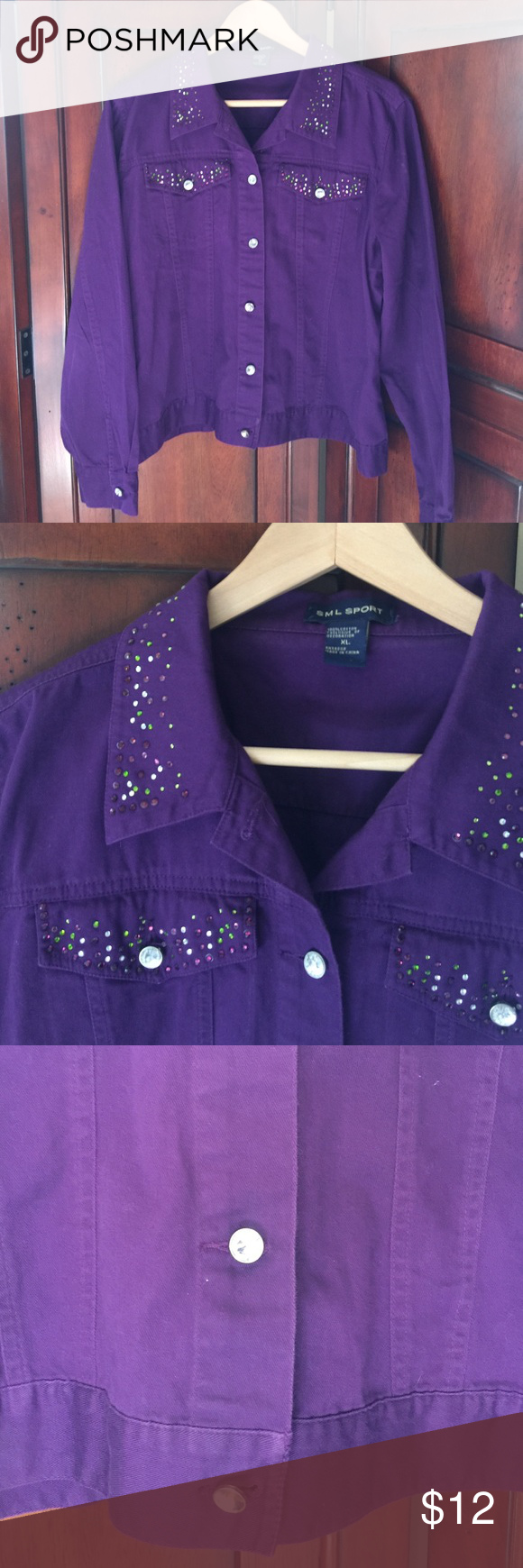 Rich Purple Rhinestone Jacket Add some sass to jeans and a tee! This lightweight 100% cotton jacket is the perfect thing to layer. Bottom button has lost its stone, but still shines. See picture. Otherwise great condition. sml sport Jackets & Coats Jean Jackets