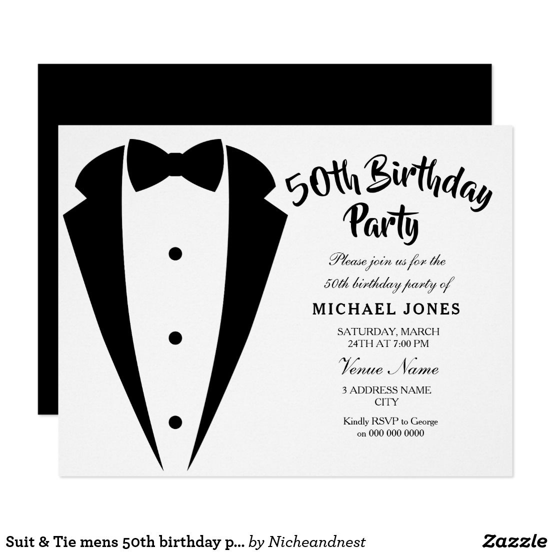 Suit & Tie mens 50th birthday party invitation Suit & Tie mens 50th ...