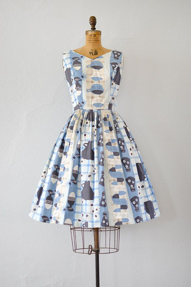 vintage 1950s novelty diner print dress
