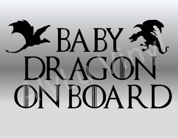 Baby Dragon On Board car vinyl decal Game of Throne