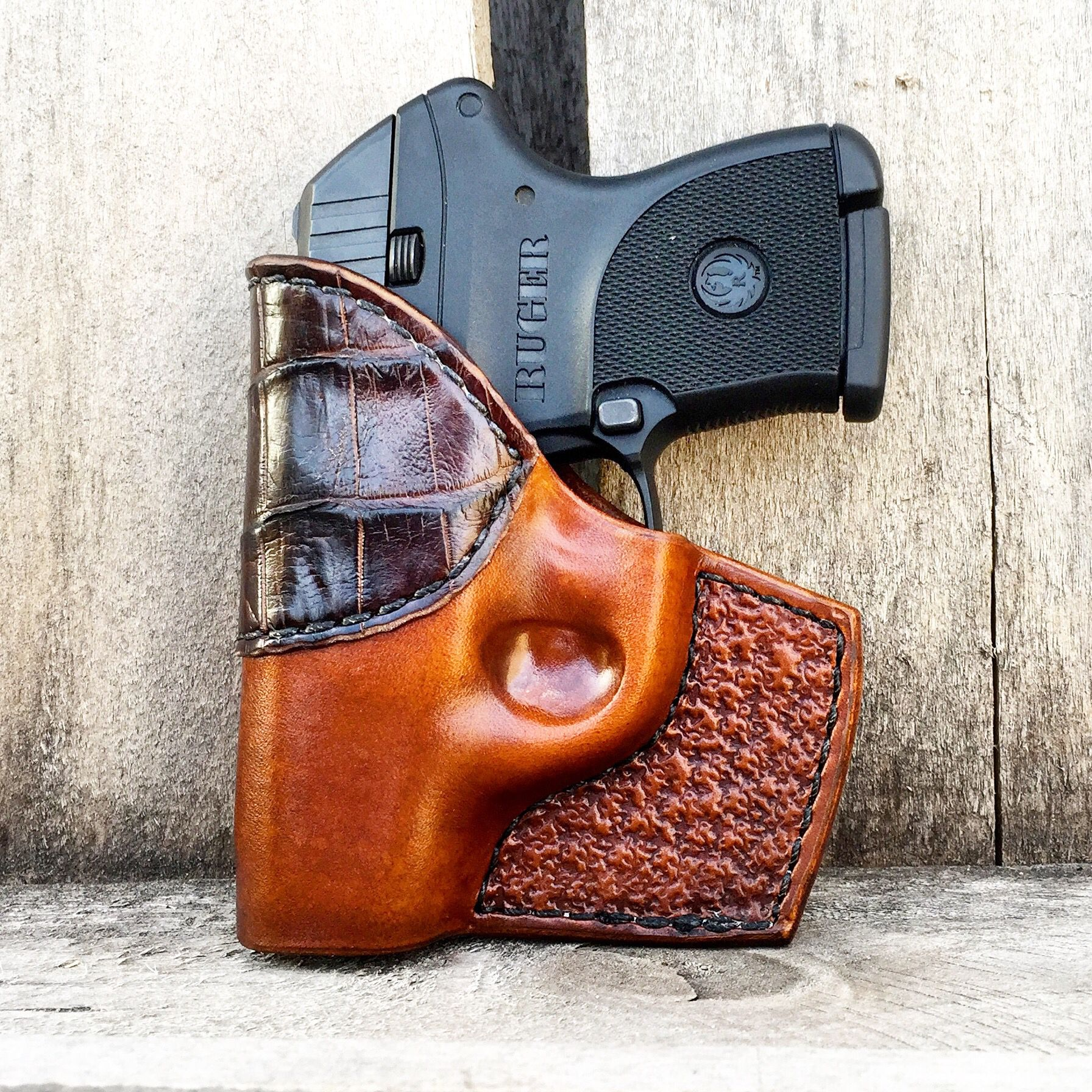 Ruger LCP Holster with Alligator from johnstongunleather com
