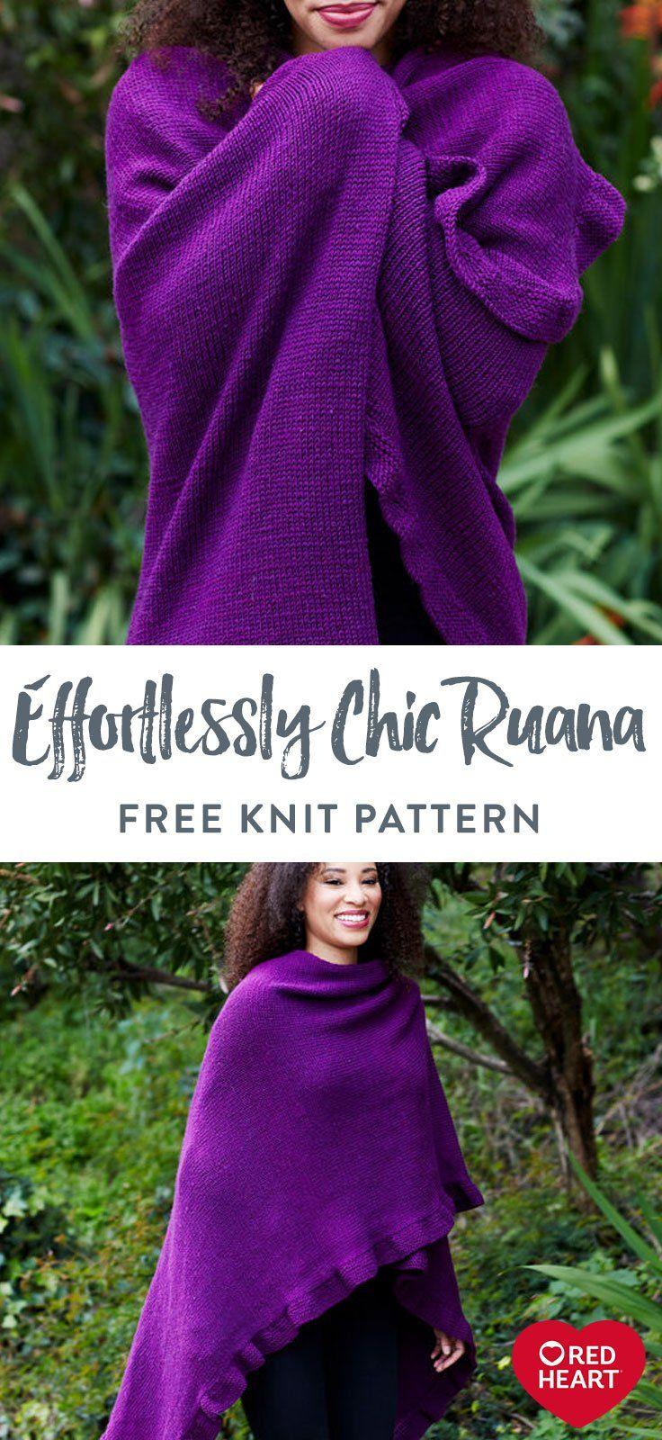 Effortlessly Chic Ruana free knit pattern in Red Heart ...