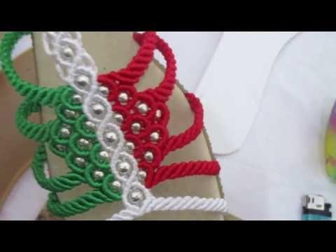 como tejer sandalia macrame cerrada preparacion y corte de hilo 2 de 12 - YouTube