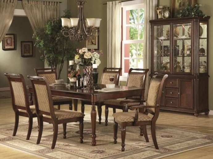 MYCO Furniture Wilshire Brown Finish Beige Velvet Rectangular Dining