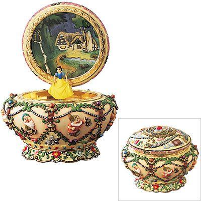 Disney Snow White Music Box Jewelry Round Princess Seven Dwarfs 7 Dwarve and the