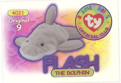 1c7fcbe25ff Trading Cards 1496  Ty Beanie Babies Bboc Card - Series 1 Original 9 (Gold)  - Flash The Dolphin - Nm -  BUY IT NOW ONLY   42.89 on  eBay  trading   cards ...
