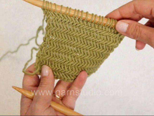 Herringbone knitting stitch by Garnstudio Drops design. This pretty ...