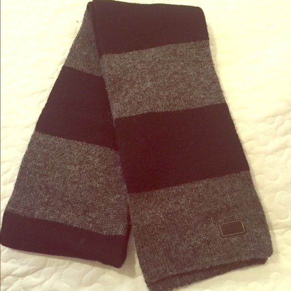 Coach Gray & Black Scarf 100% wool gray and black Coach scarf - great condition Coach Accessories Scarves & Wraps