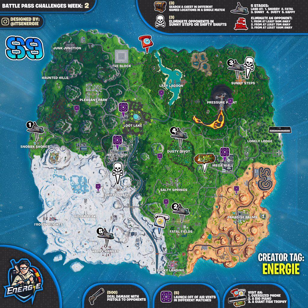 Fortnite Cheat Sheet Map For Season 9 Week 2 Challenges Fortnite Challenges Map
