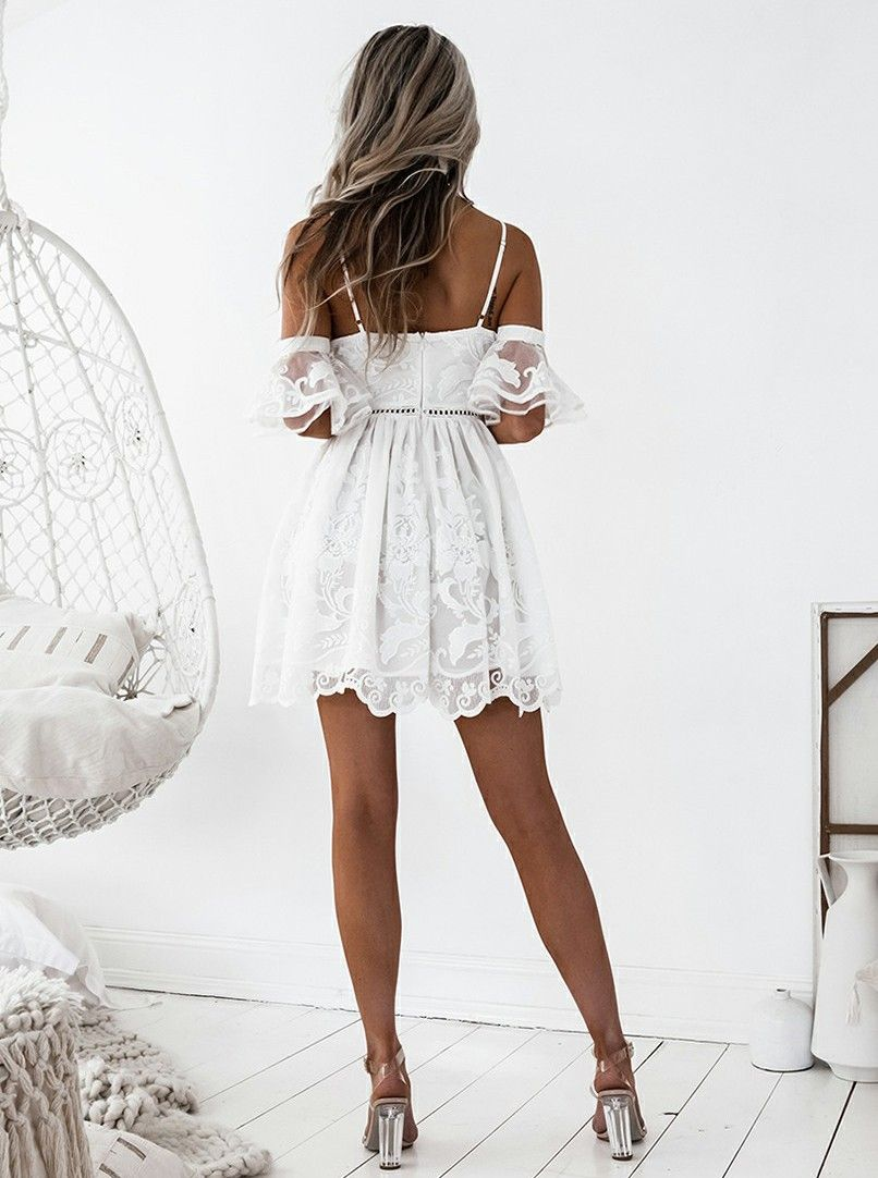 86b5613ad63 A-Line Spaghetti Straps Short White Lace Homecoming Dress with ...