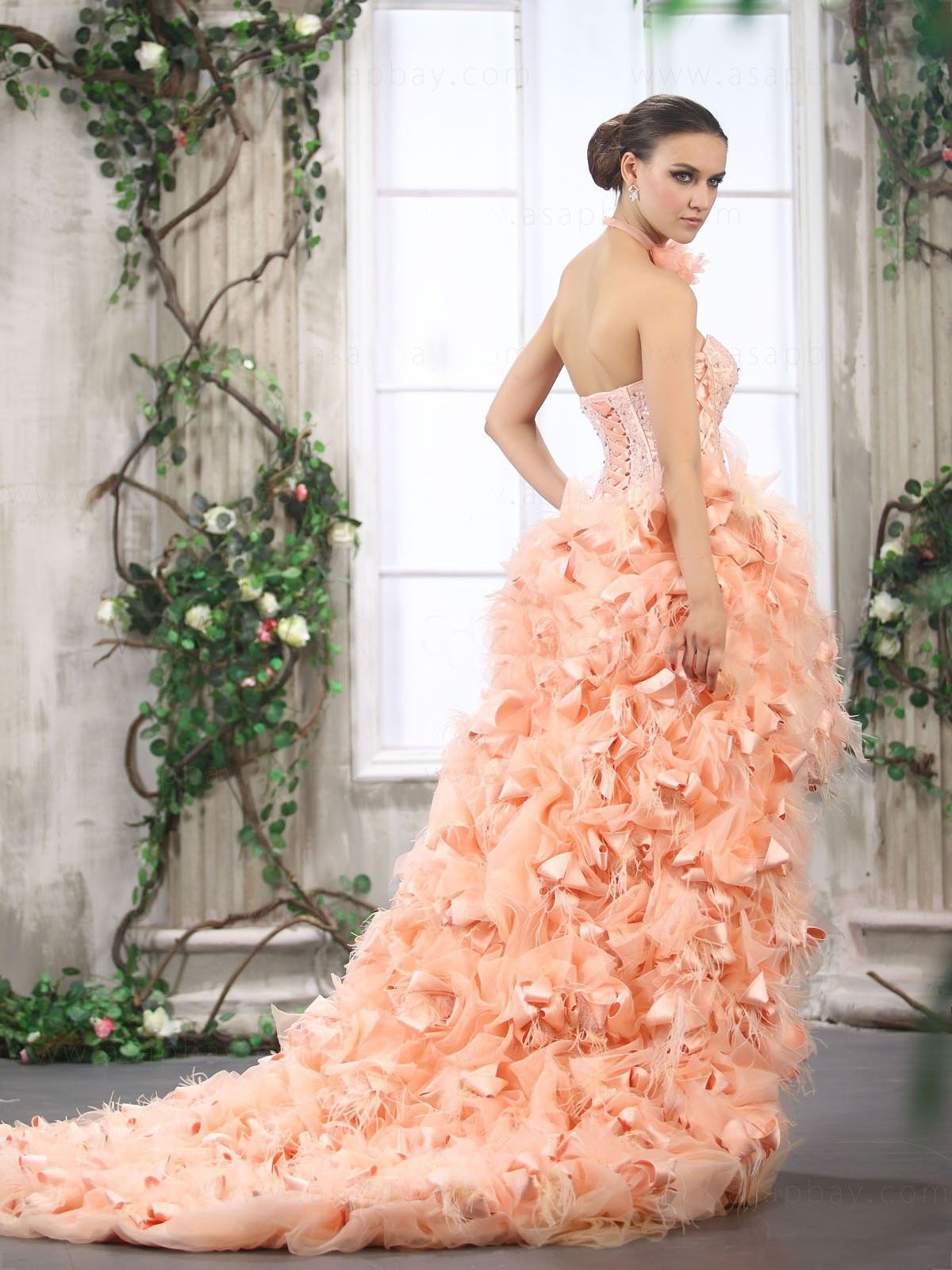 feather wedding gowns | Unique High low Wedding dresses make you ...