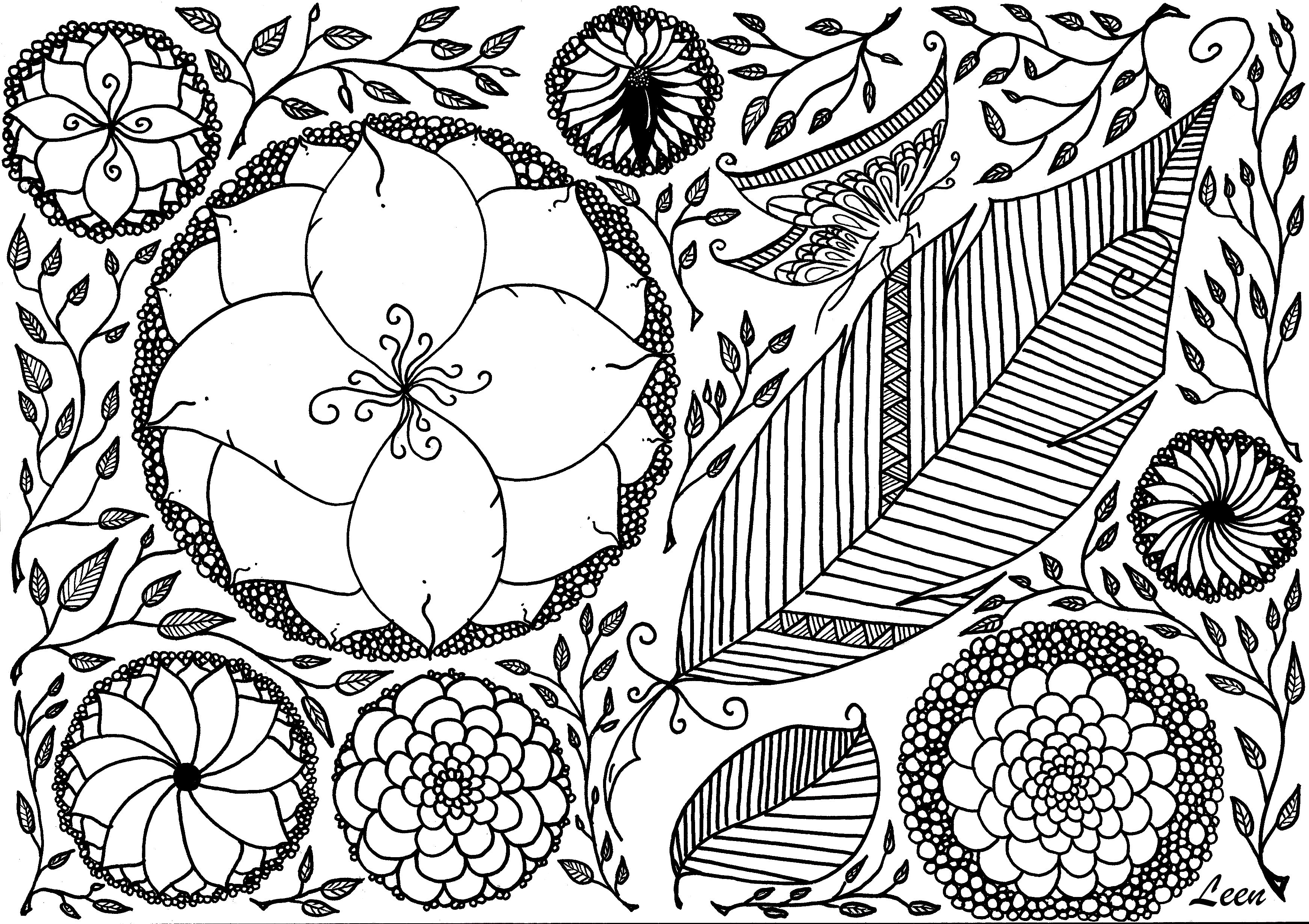 Free coloring page coloring-adult-leen-margot-spring. Coloring ...