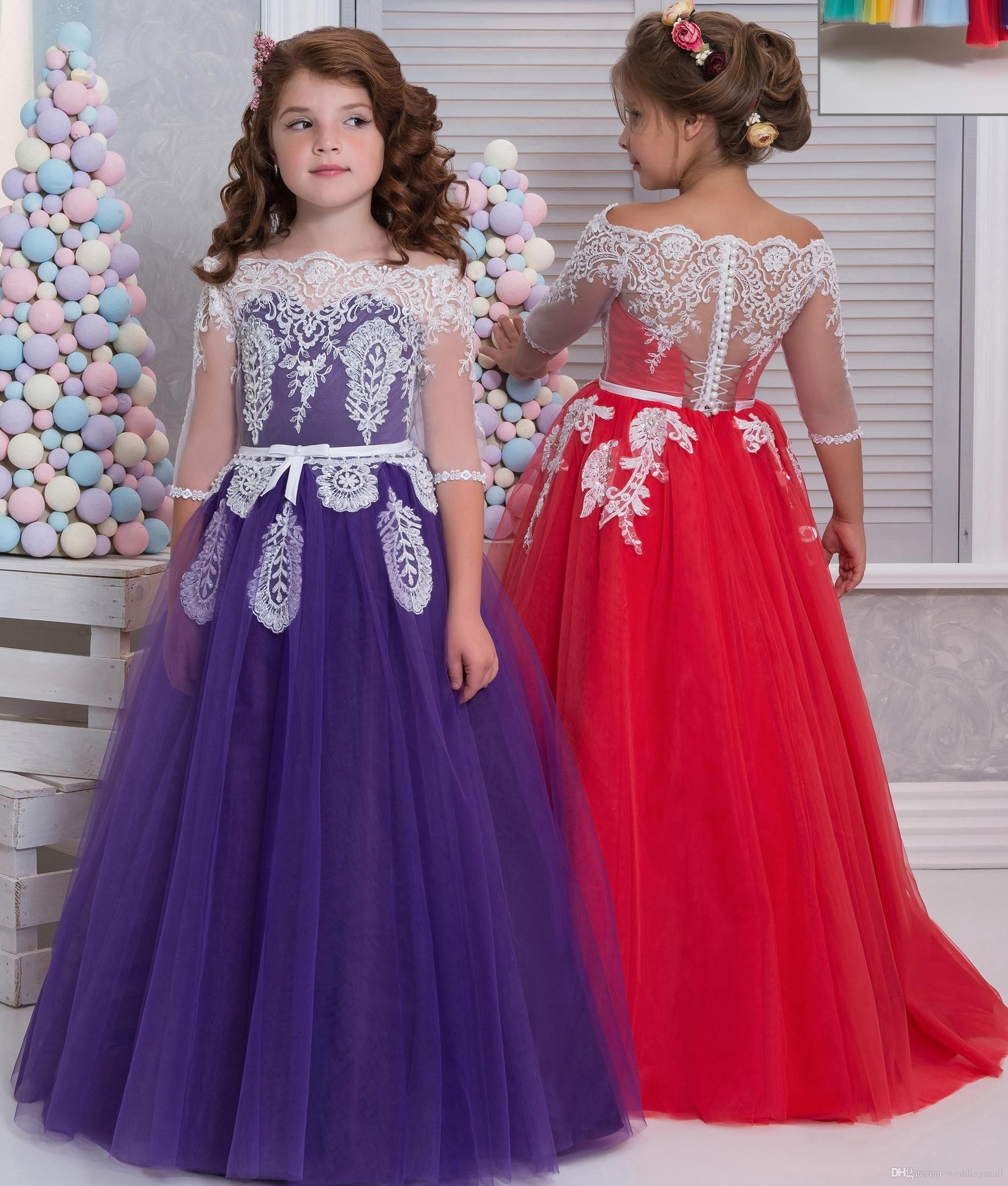 660ae4170e3 Cheap Lace Arabic 2017 Flower Girl Dresses A Line Vintage Child ...