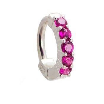 Tummytoys Solid 925 Silver Huggy With Pink Diamonties Snap Lock