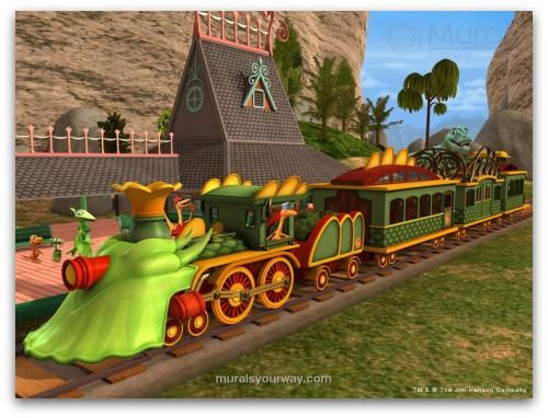 Dinosaur train mural big girl room pinterest for Dinosaur mural ideas