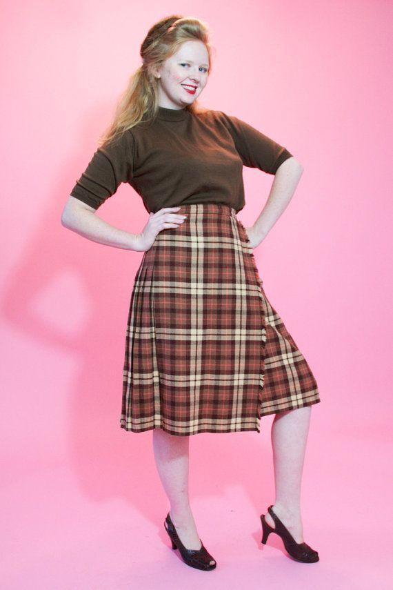 bc47346d4c Vintage 1960s Plaid Pleated Skirt #vintage #plaid #kilt #skirt #brown @Etsy