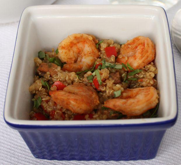 Quinoa chicken sausage and shrimp