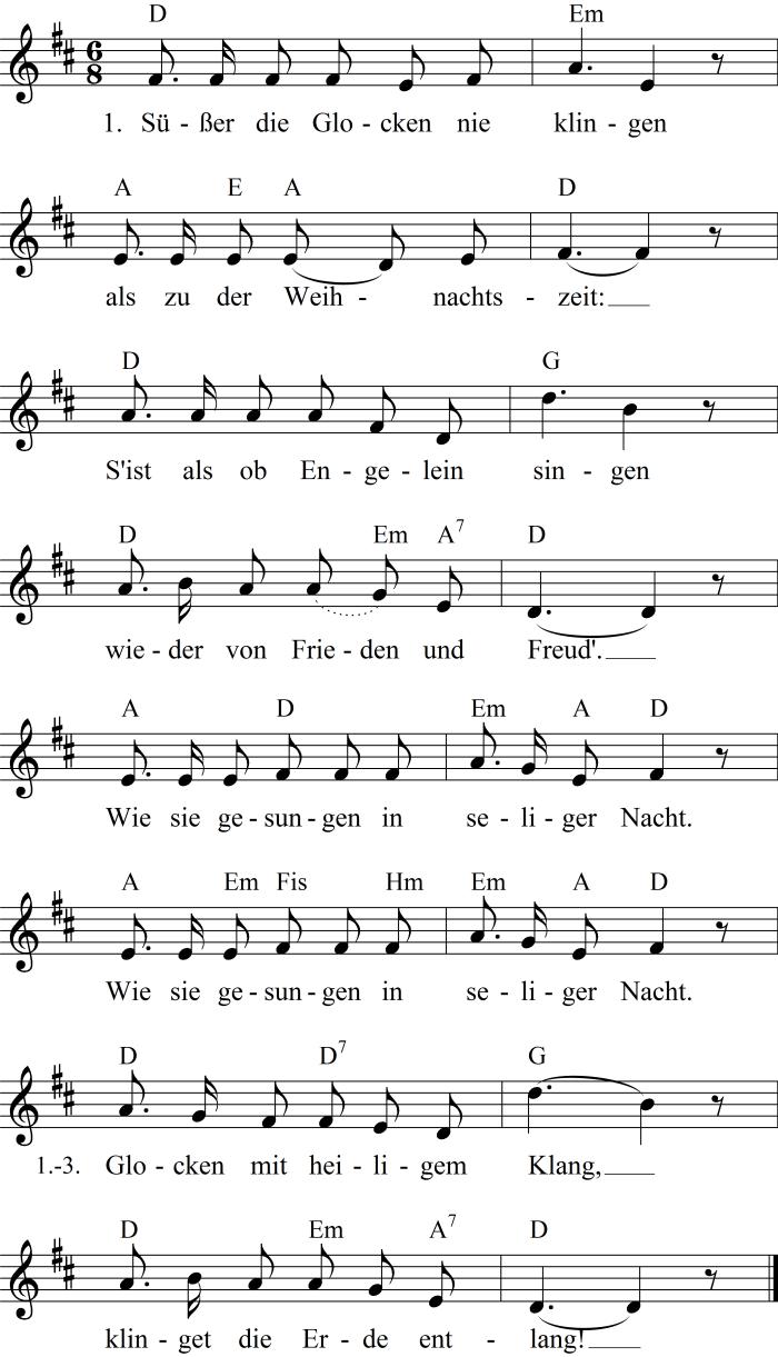 Lied Susser Die Glocken Nie Klingen Gitarrenlieder Weihnachtslieder Noten Liedtext