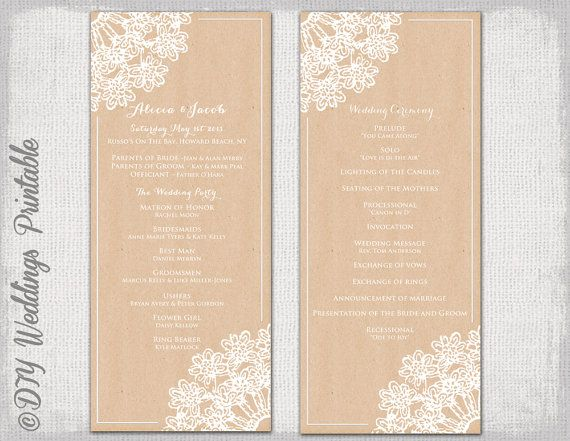 Printable Lace Doily Kraft Wedding Program Template With A White Design For You To Make