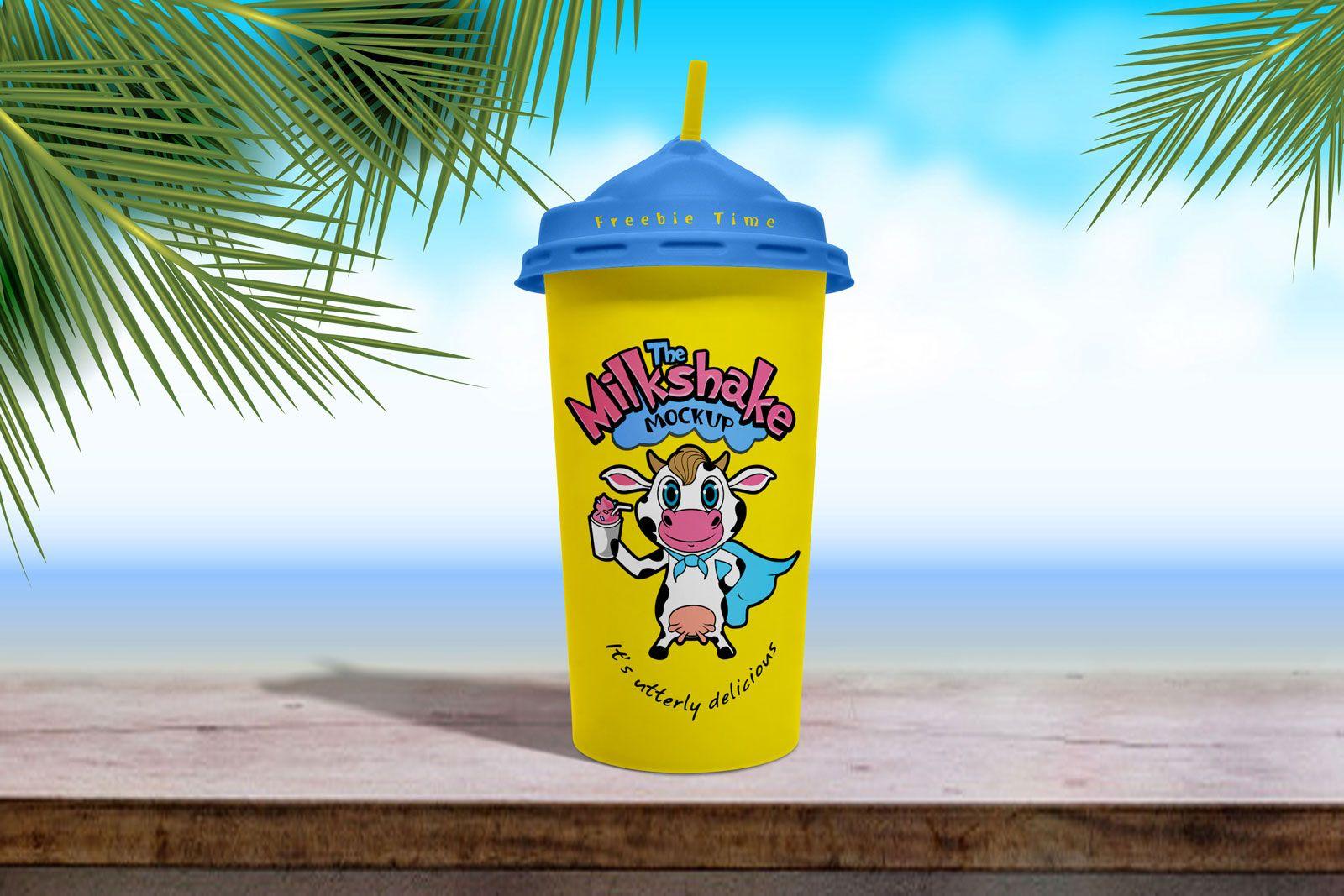 Free Disposable Milkshake Cup Mockup PSD in 2020 Free