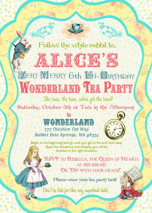 Cute Alice Invites In Wonderland Invitations Birthday Tea