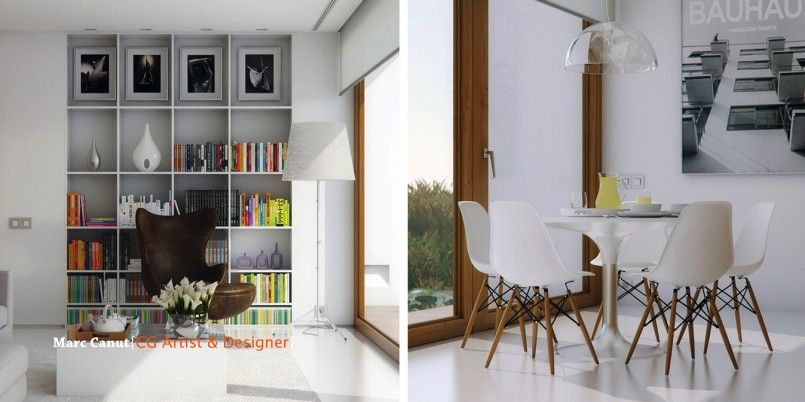 Apartments Modern Living Room Interior Design With White Floor And White Walls And Large Bookcase With Brown Puff And White Floor Lamp And Striped Carpet Crazy-Colorful Modern House in Guatemala Hosting an Art Gallery