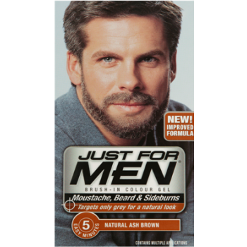 Just For Men Brush In Colour Gel Ash Brown (M20) Facial Hair Colour ...
