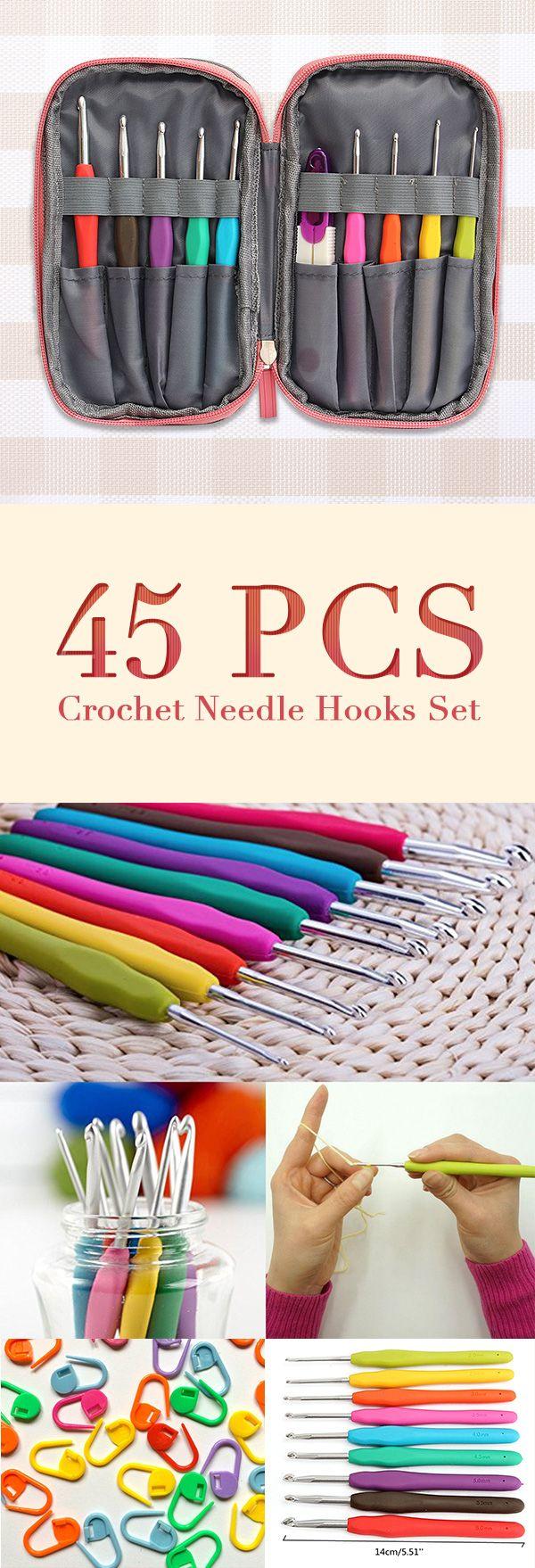 45 Pcs Crochet Needle Hooks Set Organiser Case Accessories Tapestry Craft Knitting Kit Crochet Needle Hooks Crochet Needles Crochet