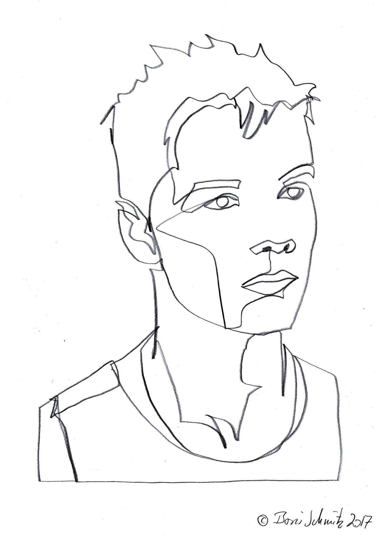 Gaze 516 continuous line drawing by boris schmitz for Art of minimal boris