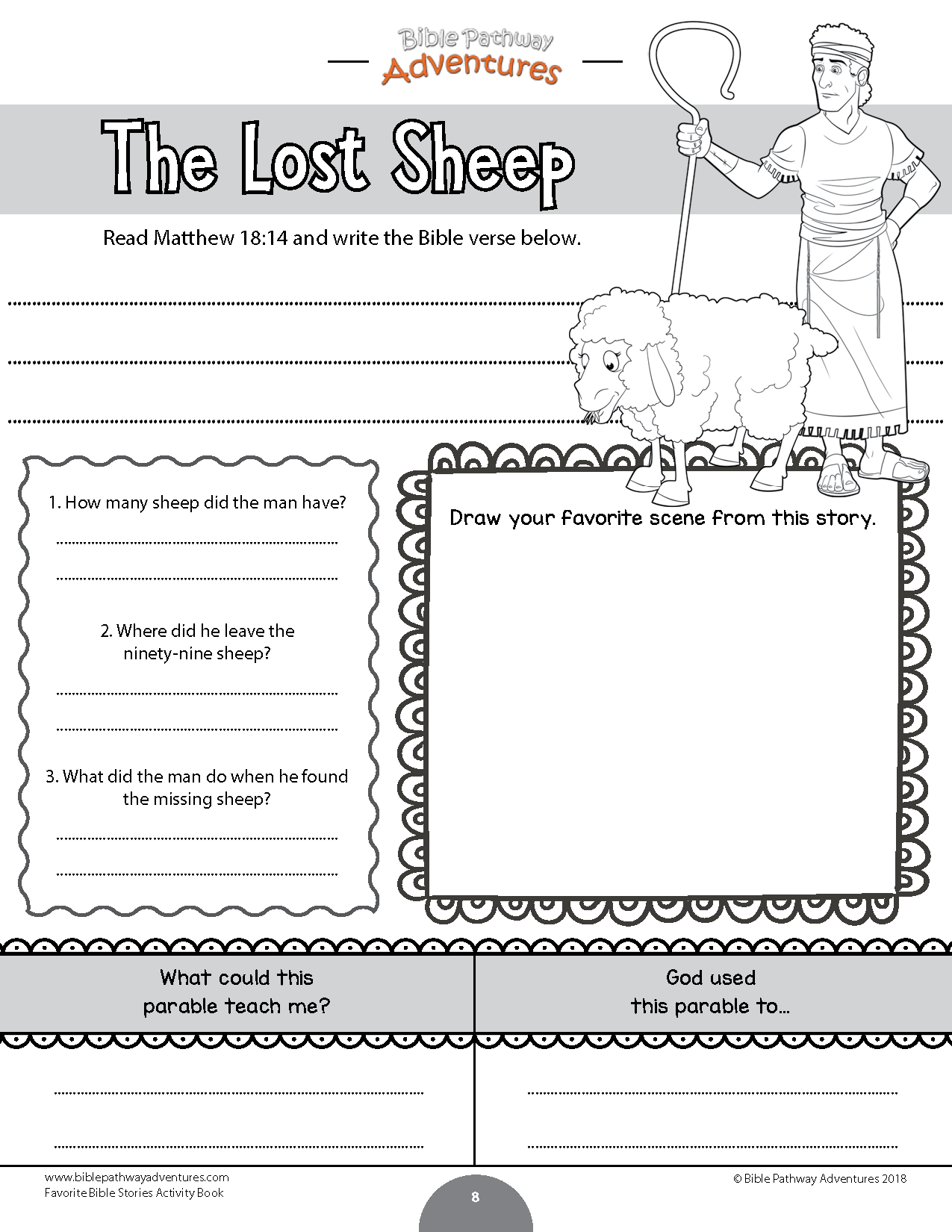 The Lost Sheep Bible Coloring Activity For Kids