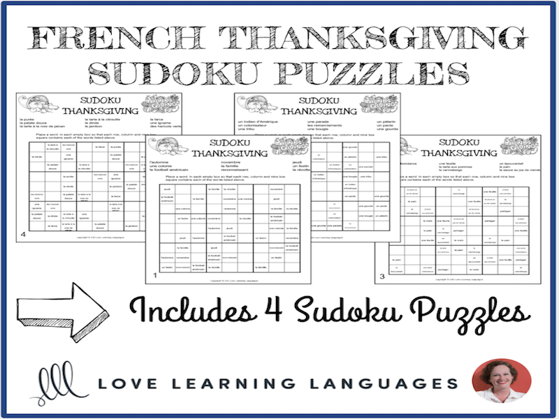 french thanksgiving sudoku puzzles tes french resources
