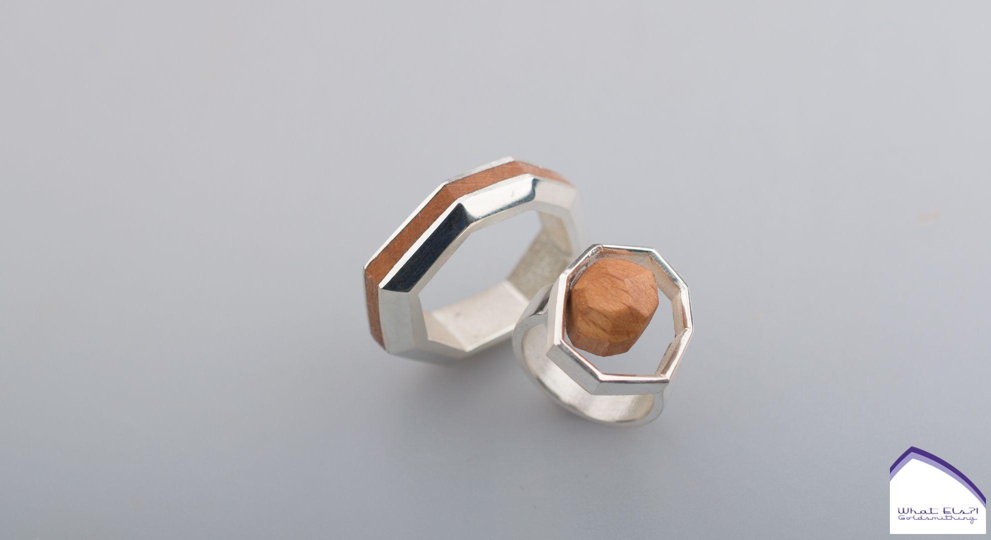 Zilveren ring met hout, het kan allemaal.