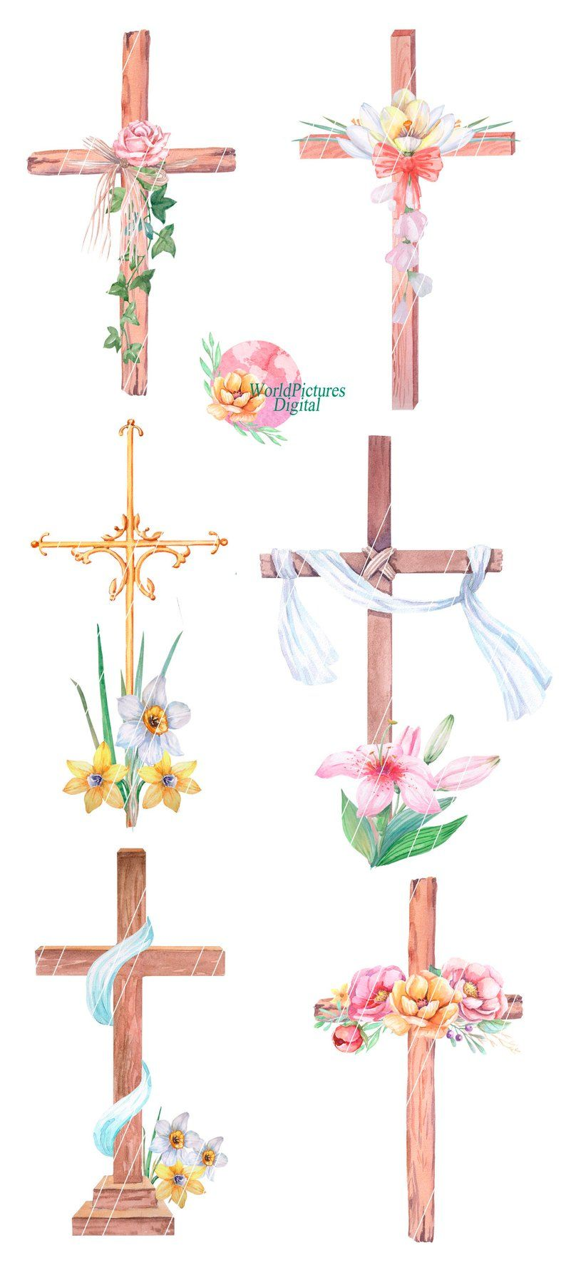 Wooden Crosses Easter Watercolor Clipart Flowers Cross Wood Cross Pastel Watercolor Flower Decoration Instant Download Baptism Watercolor Clipart Clip Art Watercolor On Wood