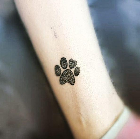Mandala paw print tattoo by Luis Angel