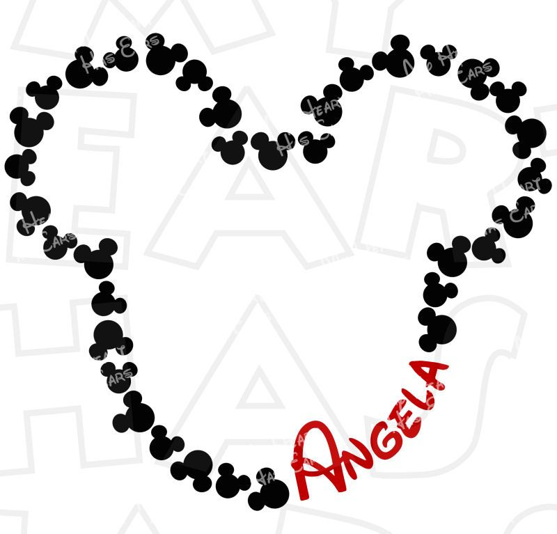 Mickey Mouse outline with CUSTOM name digital clip art