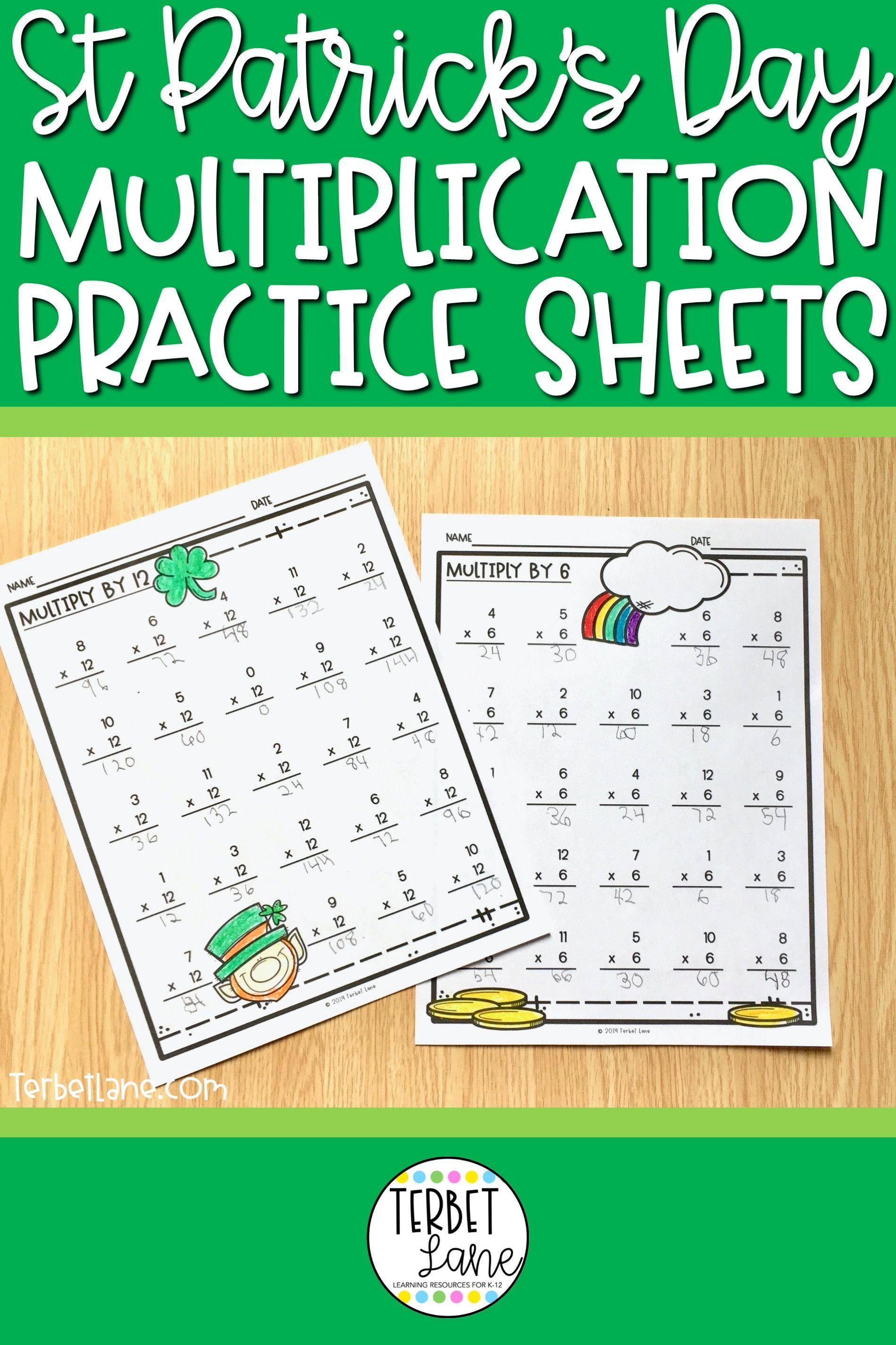 St Patrick S Multiplication Worksheets In